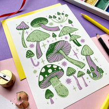 Green and Lilac Mushroom Print