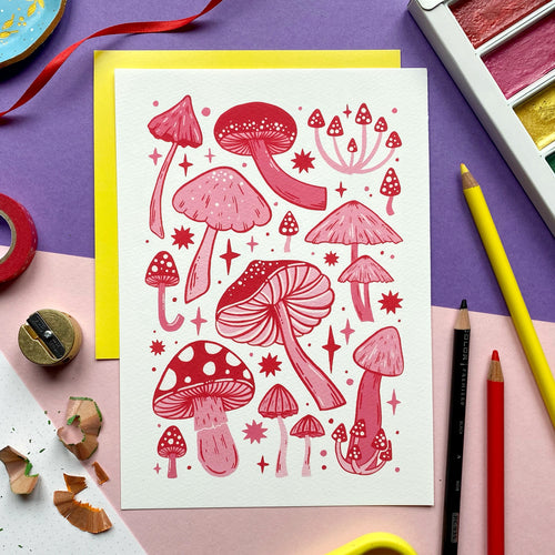 Pink and Red Mushroom Print
