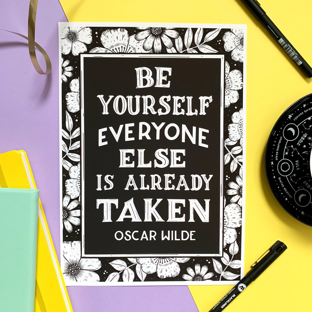 Oscar Wilde Be Yourself Print (B&W)