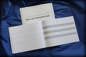 Kid Writing Notebook: 3 Gray Lines - Horizontal