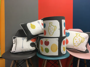 Hand printed fruit fabrics and hand made lampshades