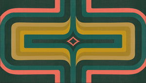 70s Geometric wallpaper Green, peach + ochre