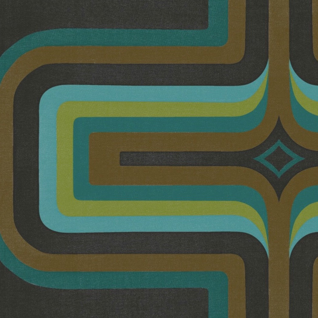 70s Geometric wallpaper, Turquoise + Slate