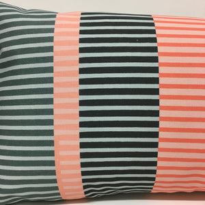 Combed Stripe Cushion - Coral + Blush + Grey