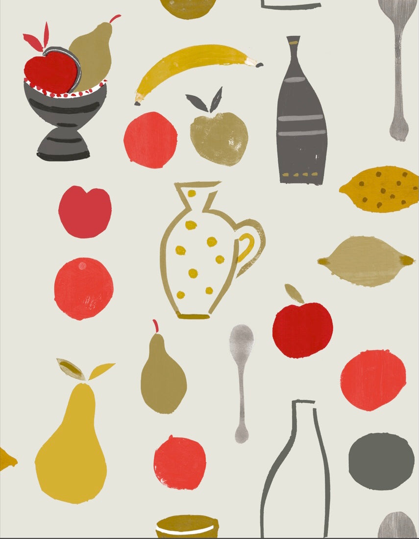 Naive Fruit Motif Wallpaper - Red Apple