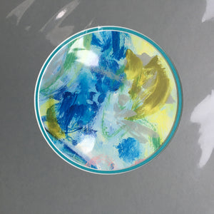 Expressive Abstract Circular Print Turquoise + Grey Mount