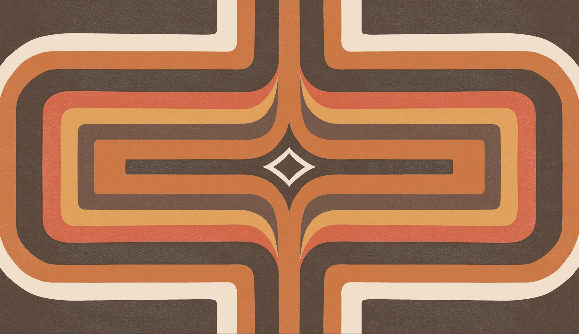 70s Geometric wallpaper Brown + Orange