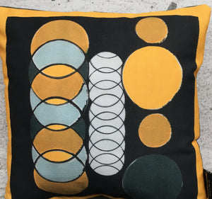Yellow + Black Circle Mini Cushion