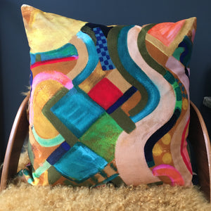 Connect' multi  coloured large Velvet cushion