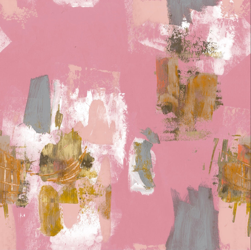 Abstract Painterly Wallpaper- Pink + Mustard