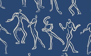 Dancers Wallpaper - French Navy + Off white