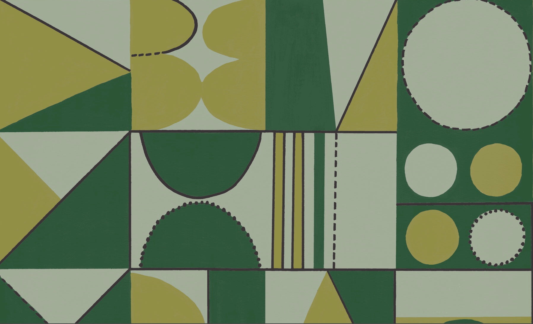 Taking Shape Wallpaper- Bottle green & Citrine