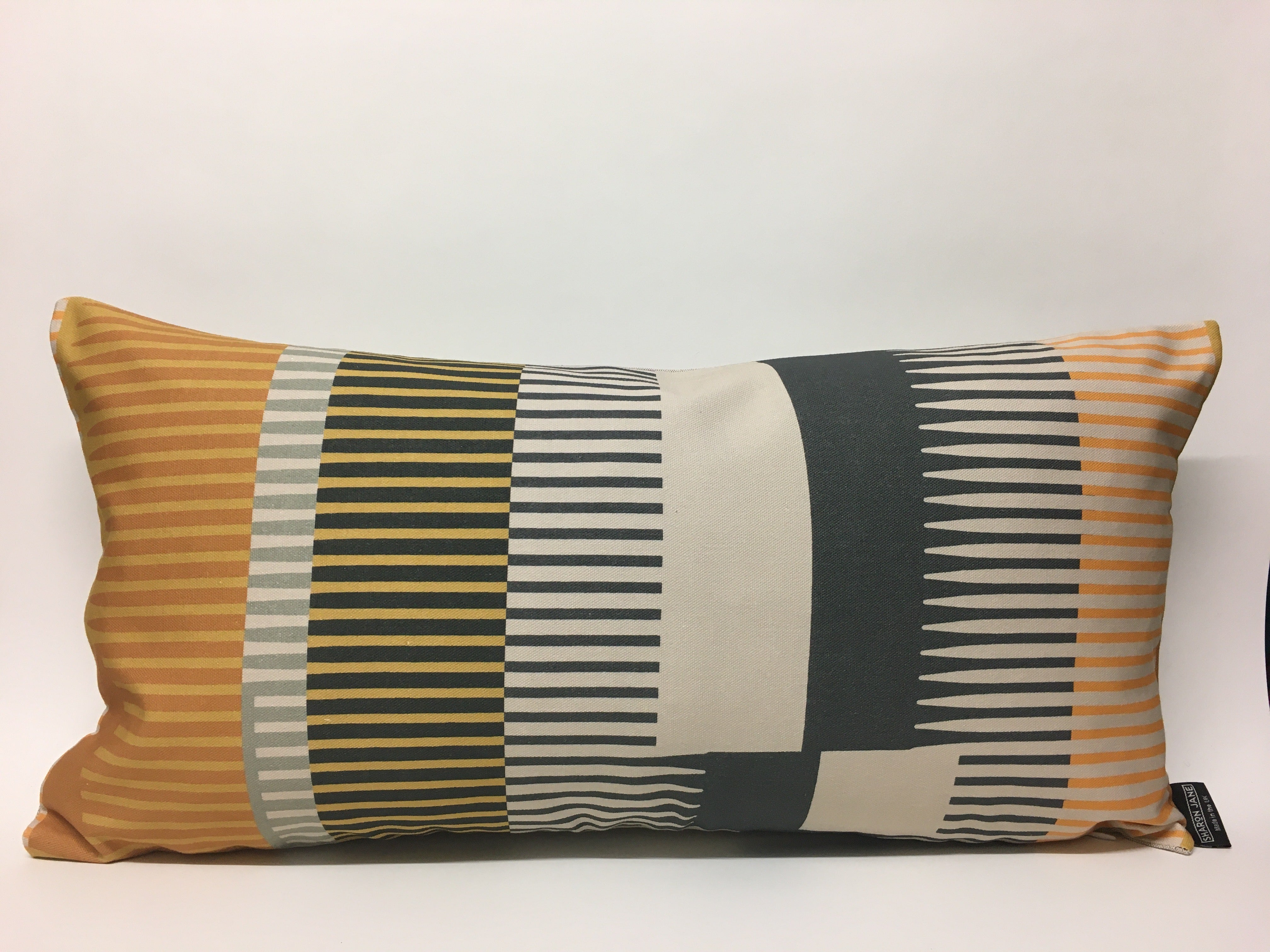 Combed Stripe Cushion - Ochre, graphite + mustard
