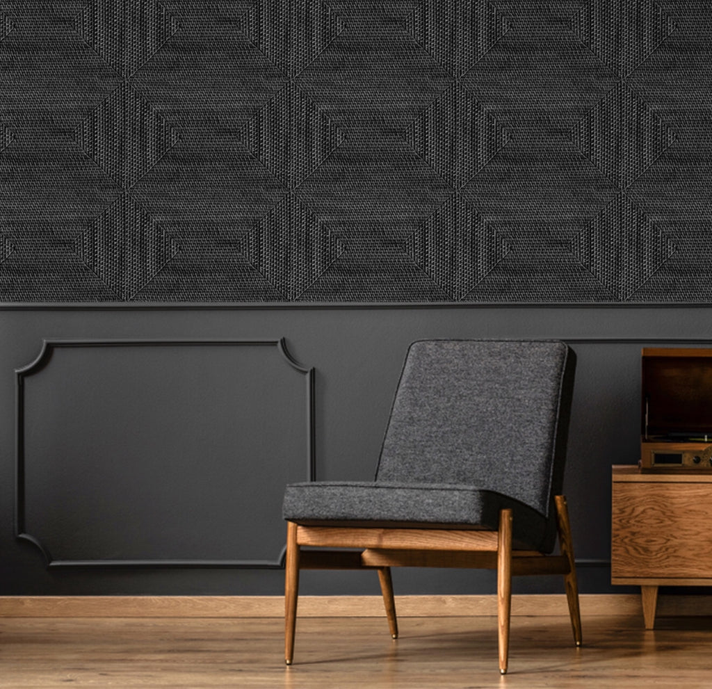 Cane Diamond Charcoal Wallpaper