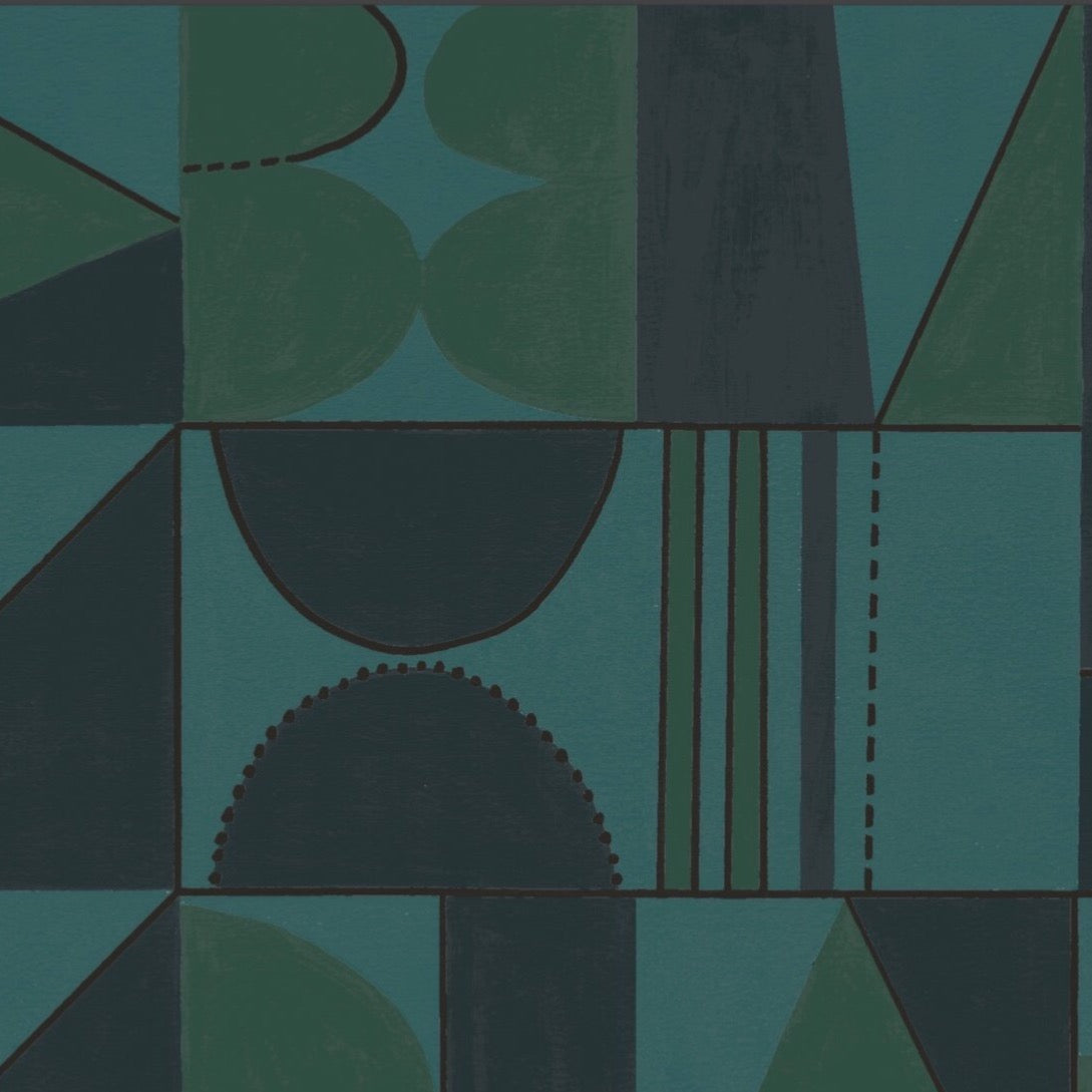 Taking Shape Wallpaper - Graphite, Green + Turquoise