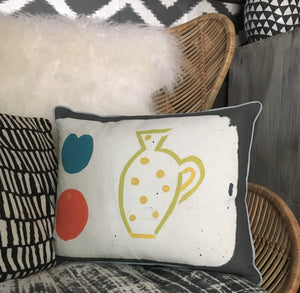 Hand Printed Yellow Jug Cushion