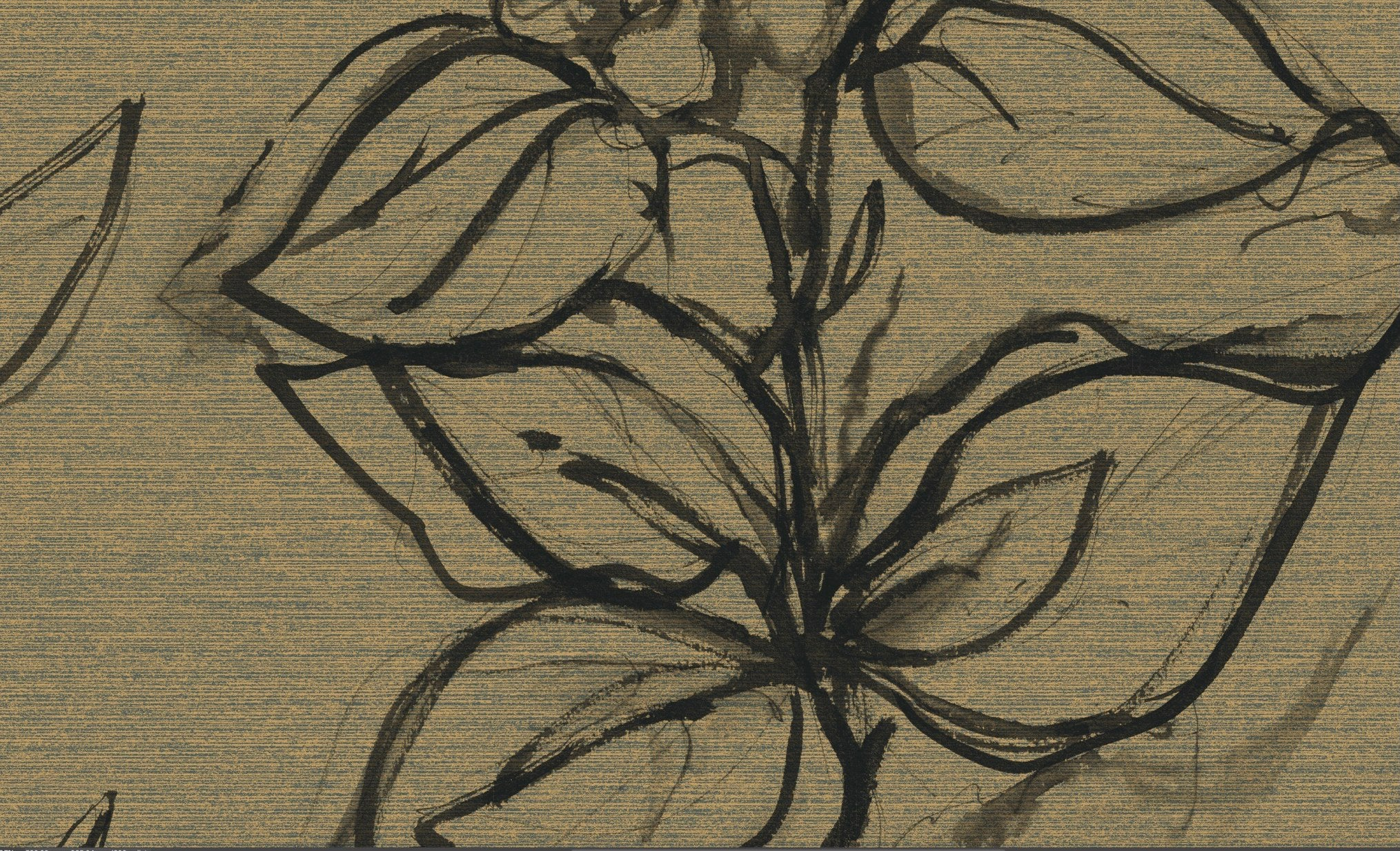 Aquatint floral Wallpaper - Linen + Black