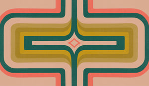 70s Geometric wallpaper, Coral + green