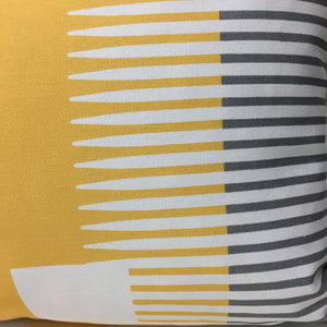Combed Stripe Cushion - Saffron, charcoal + white