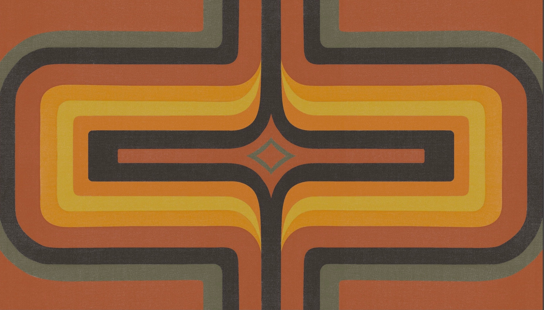 70s Geometric wallpaper Terracotta  + Orange