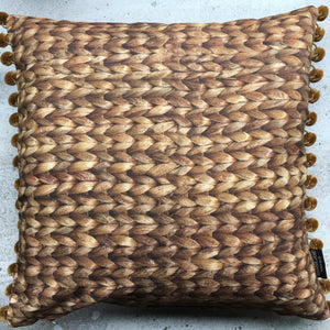 Water Hyacinth Print Cushion + Velvet Pom Poms