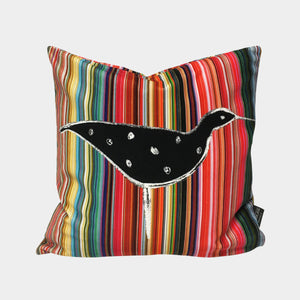 Ducks In A Row Velvet Cushion - Black