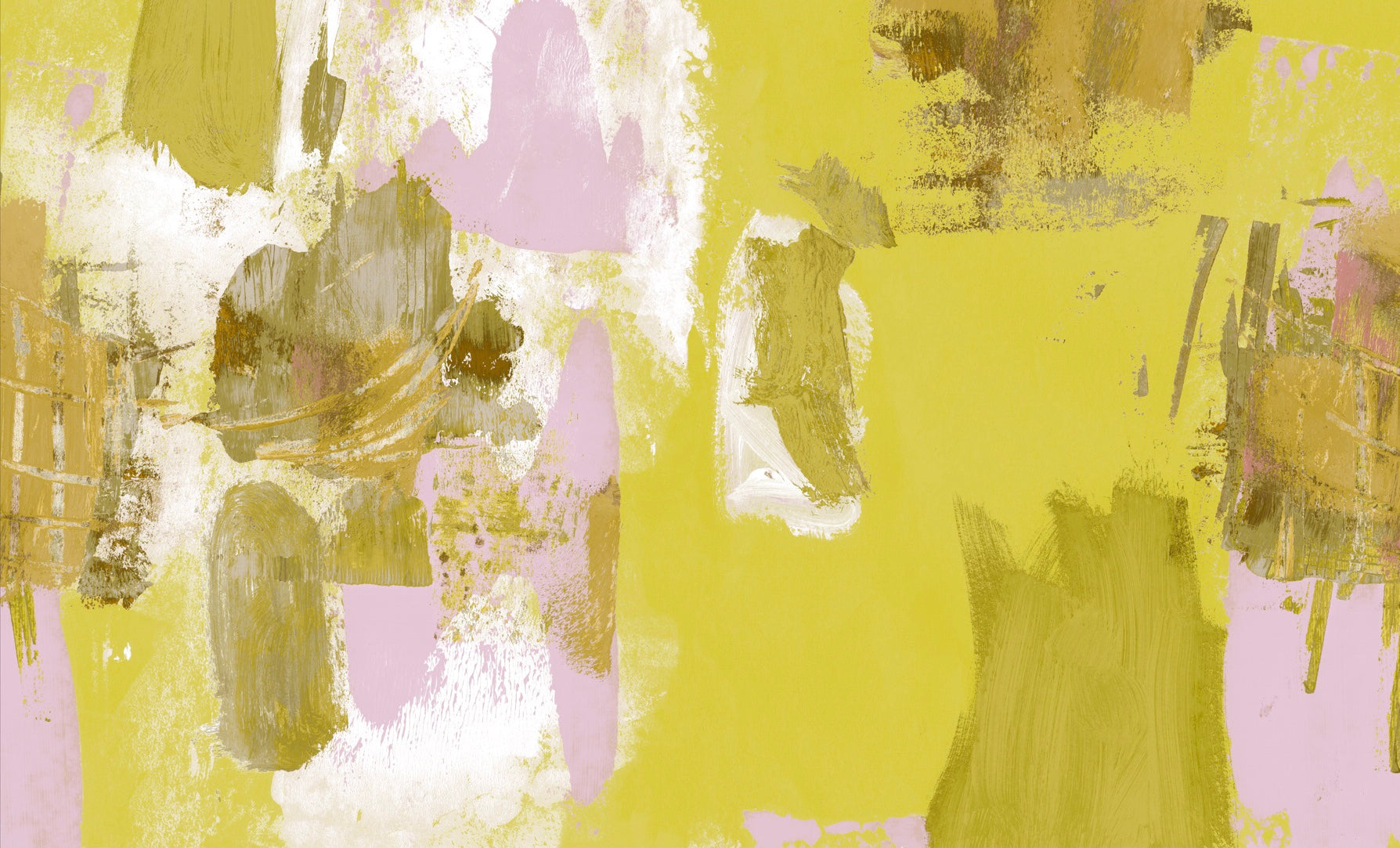 Abstract Painterly Wallpaper- Lemon Yellow & Pink