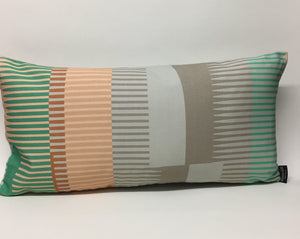 Combed Stripe Cushion - pastel mint, peach + grey