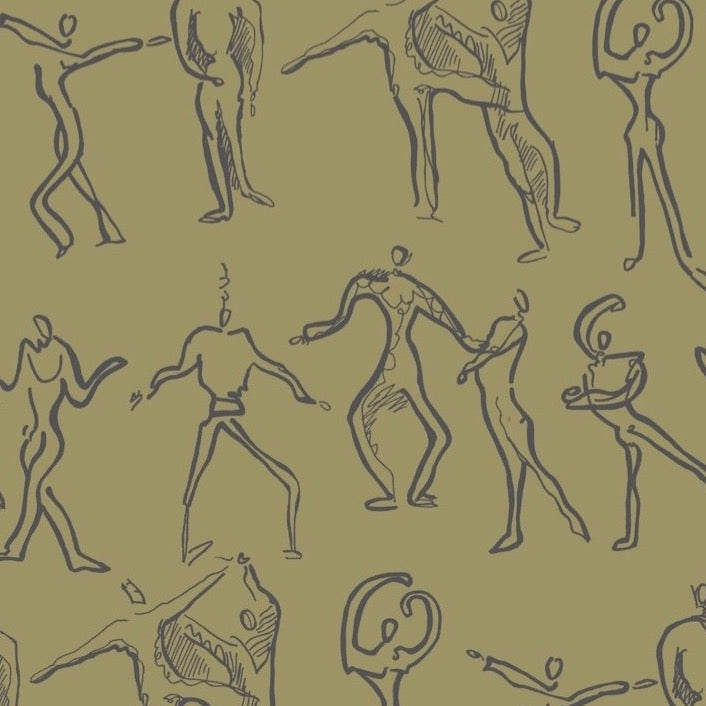 Dancers Wallpaper - Olive + Grey