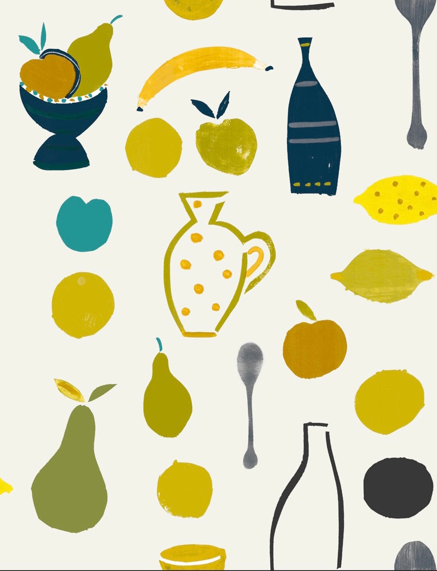 Naive Fruit Motif Wallpaper - Yellow Banana