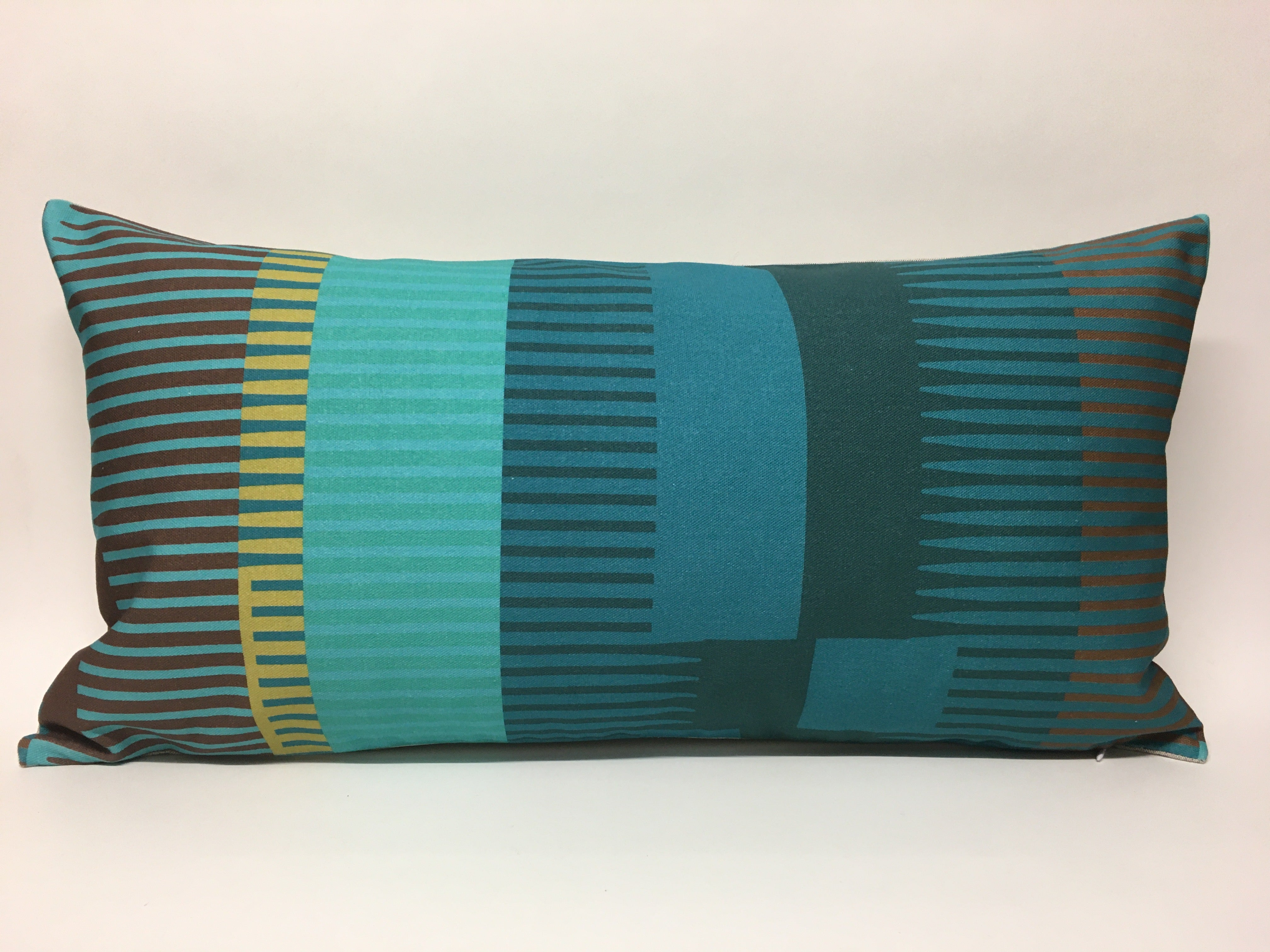 Combed Stripe Cushion - Teal, turquoise + olive