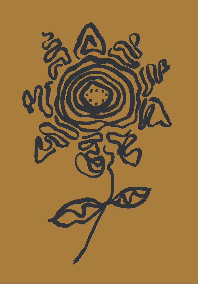 A3 Flower print - Ochre + Black