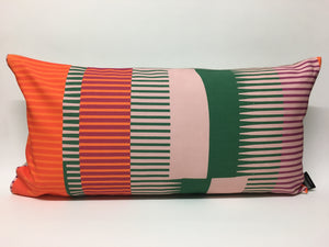 Combed Stripe Cushion - vermilion, green + blush