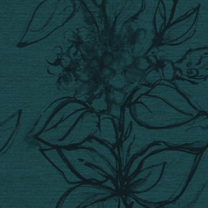 Aquatint floral Wallpaper - Petrol