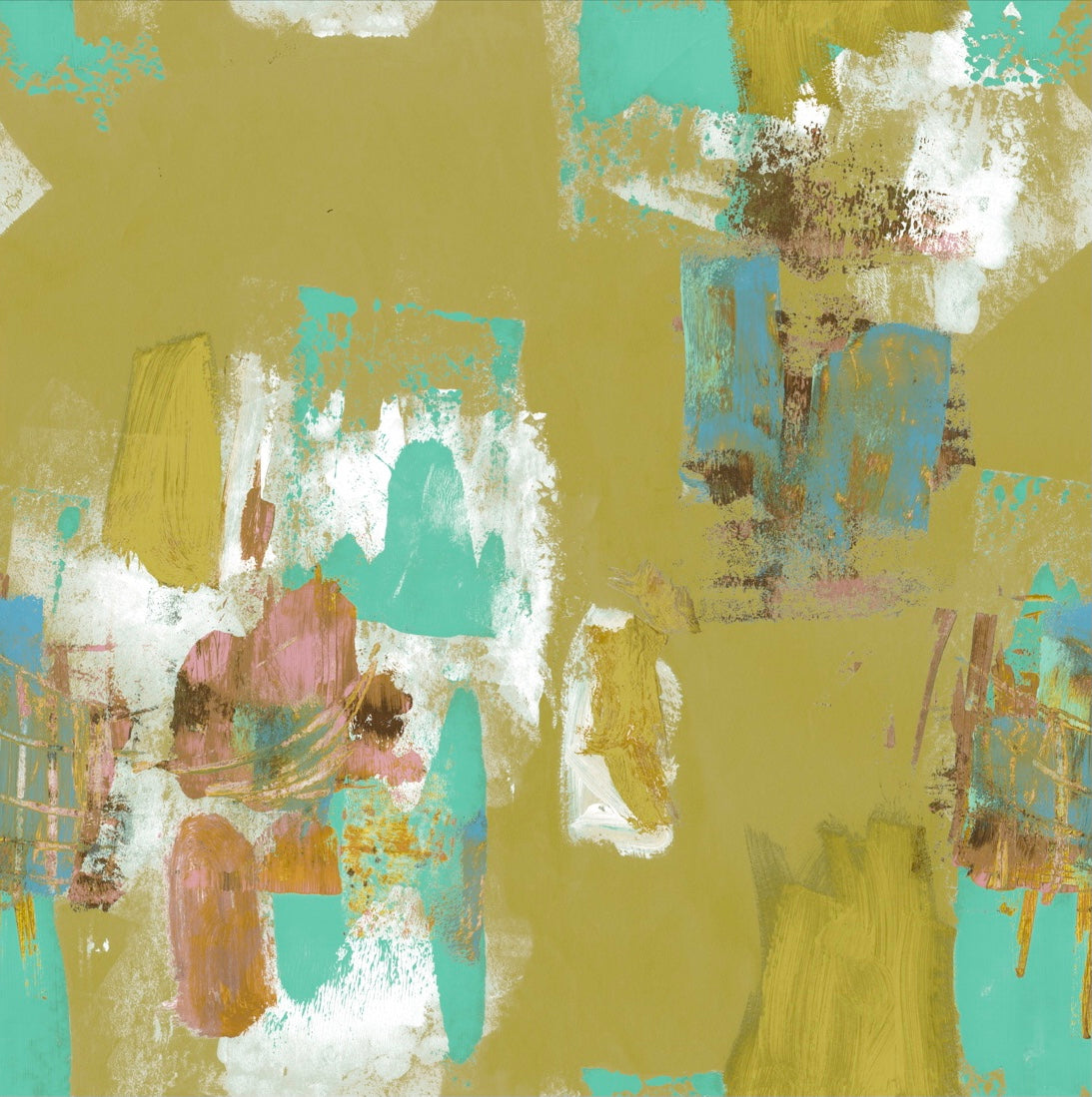 Abstract Painterly Wallpaper- Citrine