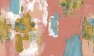 Abstract Painterly Wallpaper- Coral & Blue