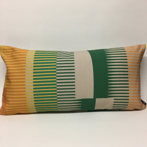 Combed Stripe Cushion - Bottle green, straw + mustard