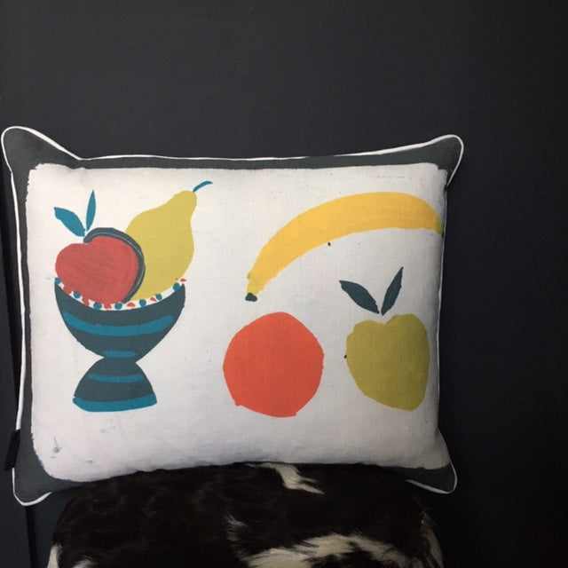 Hand Printed Fruit Bowl Cushion