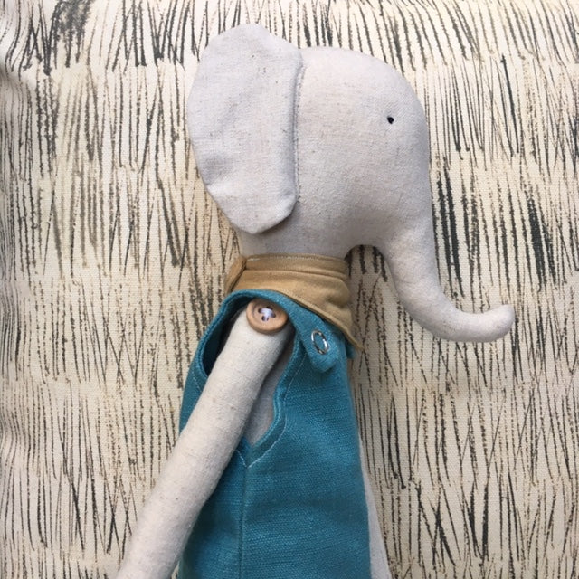 Hand Made Linen Soft Toy - Elephant.