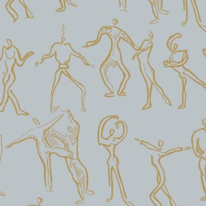 Dancers Wallpaper - Powder Blue + Ochre