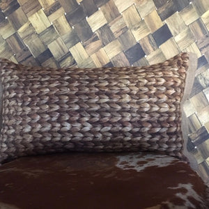 Water Hyacinth Oblong Cushion With Hessian Trim