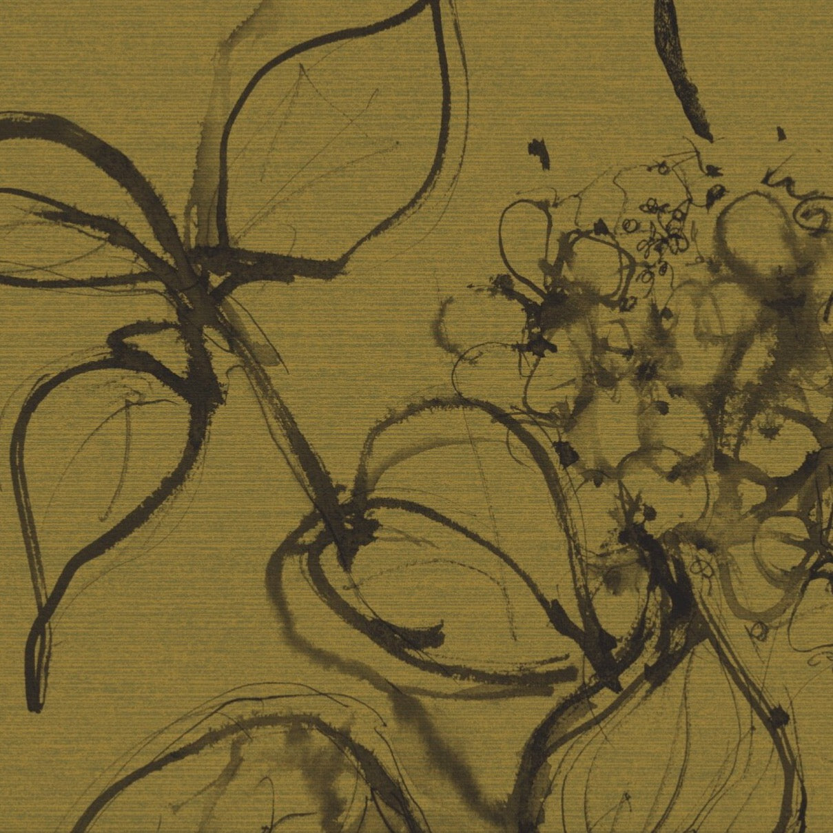 Aquatint floral Wallpaper - Mustard + Black