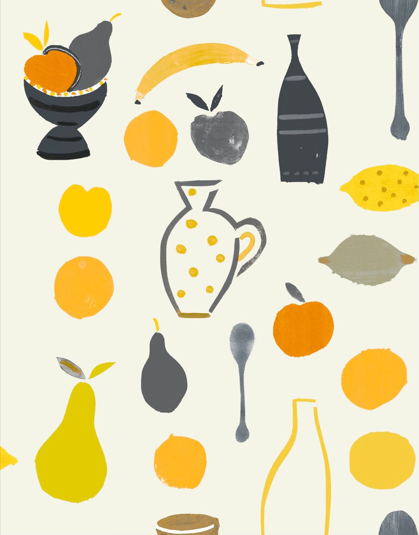 Naive Fruit Motif Wallpaper - Orange