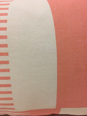 Combed Stripe Cushion - Coral, peach + grey