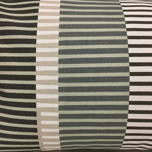 Combed Stripe Cushion - Graphite, dove + white