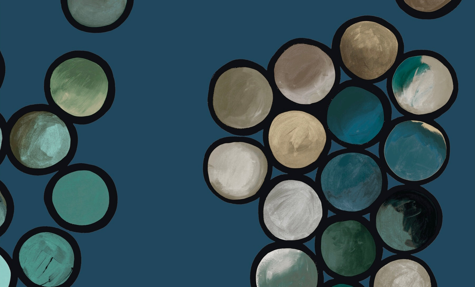Ombré Circle Wallpaper - Petrol & Taupes