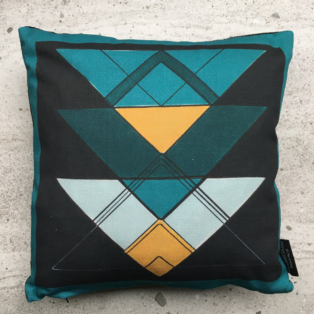 Teal Triangle Mini Cushion