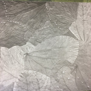 Stormy Grey Stitched Leaf Wallpaper