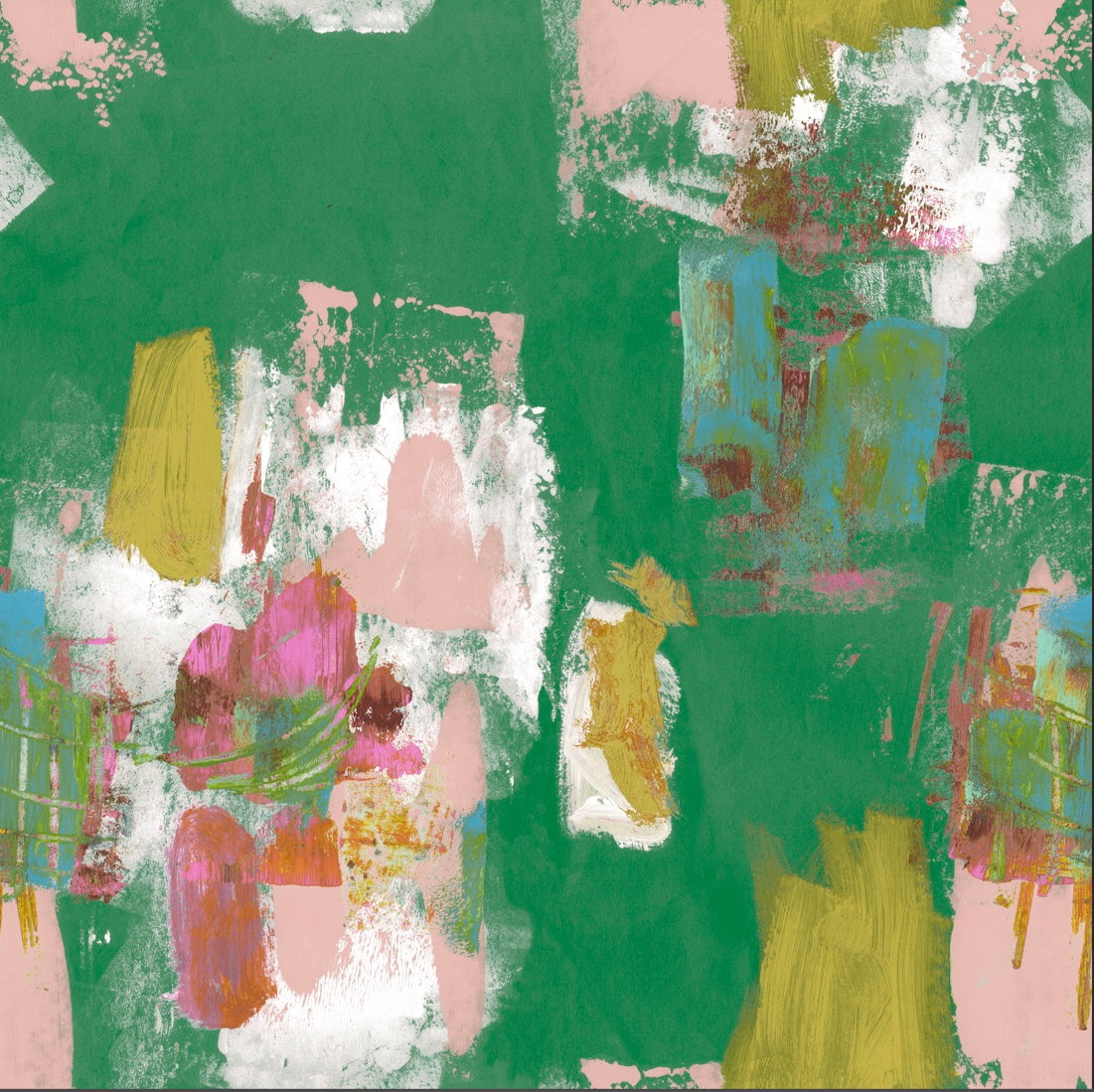 Abstract Painterly Wallpaper- Bright Green