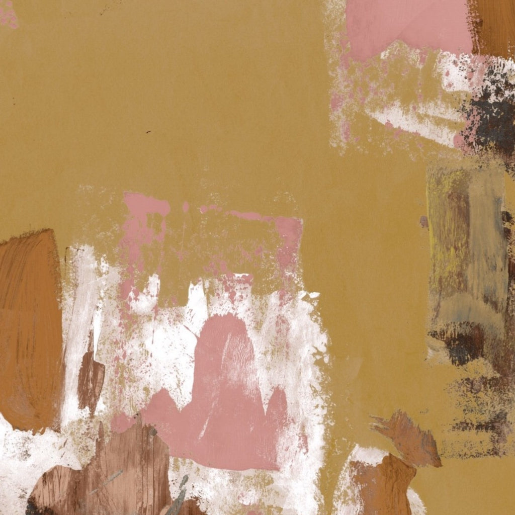 Abstract Painterly Wallpaper- Tan + Pink